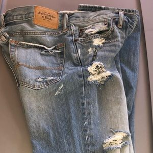 Abercrombie & Fitch classic destroyed blue jeans